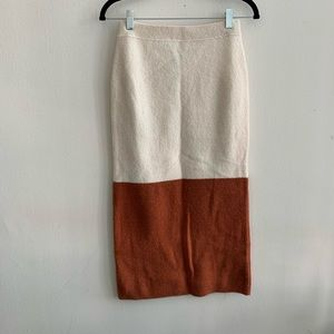 NWT Free People Rust and Cream Pencil Skirt XS